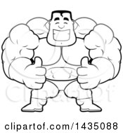 Clipart Of A Cartoon Black And White Lineart Buff Muscular Male Super Hero Giving Two Thumbs Up Royalty Free Vector Illustration