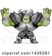 Clipart Of A Cartoon Buff Muscular Orc Holding His Hands Up And Screaming Royalty Free Vector Illustration by Cory Thoman