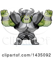 Clipart Of A Cartoon Buff Muscular Orc Holding His Fists In Balls Of Rage Royalty Free Vector Illustration by Cory Thoman
