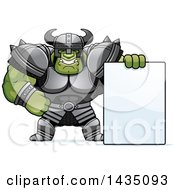 Clipart Of A Cartoon Buff Muscular Orc With A Blank Sign Royalty Free Vector Illustration by Cory Thoman
