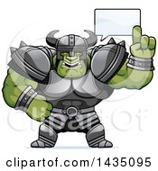 Clipart Of A Cartoon Buff Muscular Orc Talking Royalty Free Vector Illustration by Cory Thoman