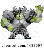 Clipart Of A Cartoon Buff Muscular Orc Waving Royalty Free Vector Illustration