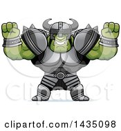 Clipart Of A Cartoon Buff Muscular Orc Cheering Royalty Free Vector Illustration