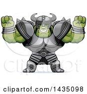 Cartoon Buff Muscular Orc Cheering