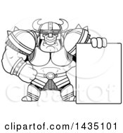 Cartoon Black And White Lineart Buff Muscular Orc With A Blank Sign