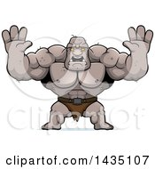 Clipart Of A Cartoon Buff Muscular Ogre Holding His Hands Up And Screaming Royalty Free Vector Illustration by Cory Thoman