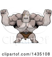 Clipart Of A Cartoon Buff Muscular Ogre Holding His Fists In Balls Of Rage Royalty Free Vector Illustration by Cory Thoman