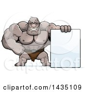 Clipart Of A Cartoon Buff Muscular Ogre With A Blank Sign Royalty Free Vector Illustration by Cory Thoman