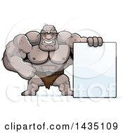 Cartoon Buff Muscular Ogre With A Blank Sign