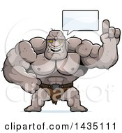 Clipart Of A Cartoon Buff Muscular Ogre Talking Royalty Free Vector Illustration by Cory Thoman