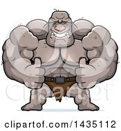 Clipart Of A Cartoon Buff Muscular Ogre Giving Two Thumbs Up Royalty Free Vector Illustration by Cory Thoman