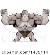 Clipart Of A Cartoon Buff Muscular Ogre Cheering Royalty Free Vector Illustration by Cory Thoman