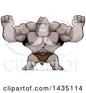 Cartoon Buff Muscular Ogre Cheering