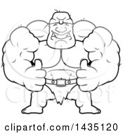 Cartoon Black And White Lineart Buff Muscular Ogre Giving Two Thumbs Up
