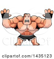 Clipart Of A Cartoon Buff Muscular MMA Fighter Holding His Hands Up And Screaming Royalty Free Vector Illustration by Cory Thoman