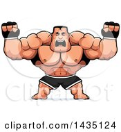 Clipart Of A Cartoon Buff Muscular MMA Fighter Holding His Fists In Balls Of Rage Royalty Free Vector Illustration by Cory Thoman