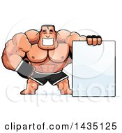 Clipart Of A Cartoon Buff Muscular MMA Fighter With A Blank Sign Royalty Free Vector Illustration by Cory Thoman