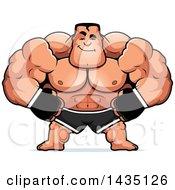 Cartoon Smug Buff Muscular Mma Fighter