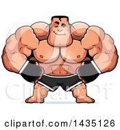 Clipart Of A Cartoon Smug Buff Muscular MMA Fighter Royalty Free Vector Illustration