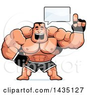 Clipart Of A Cartoon Buff Muscular MMA Fighter Talking Royalty Free Vector Illustration by Cory Thoman