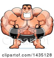 Clipart Of A Cartoon Buff Muscular MMA Fighter Giving Two Thumbs Up Royalty Free Vector Illustration by Cory Thoman