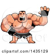 Clipart Of A Cartoon Buff Muscular MMA Fighter Waving Royalty Free Vector Illustration by Cory Thoman