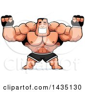 Cartoon Buff Muscular MMA Fighter Cheering