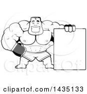 Cartoon Black And White Lineart Buff Muscular MMA Fighter With A Blank Sign