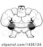 Clipart Of A Cartoon Black And White Lineart Smug Buff Muscular MMA Fighter Royalty Free Vector Illustration by Cory Thoman