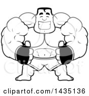 Clipart Of A Cartoon Black And White Lineart Buff Muscular MMA Fighter Giving Two Thumbs Up Royalty Free Vector Illustration by Cory Thoman