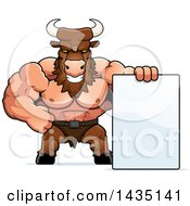 Clipart Of A Cartoon Buff Muscular Minotaur With A Blank Sign Royalty Free Vector Illustration