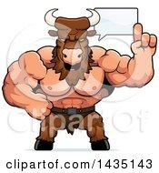 Clipart Of A Cartoon Buff Muscular Minotaur Talking Royalty Free Vector Illustration