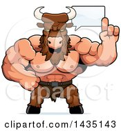 Cartoon Buff Muscular Minotaur Talking