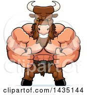 Clipart Of A Cartoon Buff Muscular Minotaur Giving Two Thumbs Up Royalty Free Vector Illustration