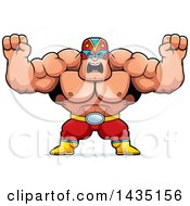 Cartoon Buff Muscular Luchador Mexican Wrestler Holding His Fists In Balls Of Rage