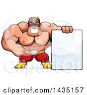 Clipart Of A Cartoon Buff Muscular Luchador Mexican Wrestler With A Blank Sign Royalty Free Vector Illustration