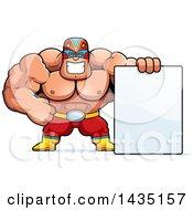 Cartoon Buff Muscular Luchador Mexican Wrestler With A Blank Sign