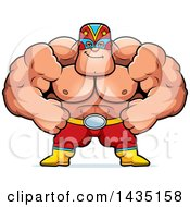 Clipart Of A Cartoon Smug Buff Muscular Luchador Mexican Wrestler Royalty Free Vector Illustration
