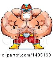 Cartoon Buff Muscular Luchador Mexican Wrestler Giving Two Thumbs Up