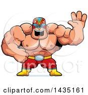 Cartoon Buff Muscular Luchador Mexican Wrestler Waving