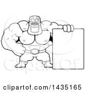Clipart Of A Cartoon Black And White Lineart Buff Muscular Luchador Mexican Wrestler With A Blank Sign Royalty Free Vector Illustration