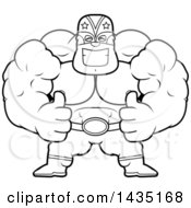 Clipart Of A Cartoon Black And White Lineart Buff Muscular Luchador Mexican Wrestler Giving Two Thumbs Up Royalty Free Vector Illustration