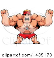Clipart Of A Cartoon Buff Muscular Male Lifeguard Holding His Fists In Balls Of Rage Royalty Free Vector Illustration by Cory Thoman