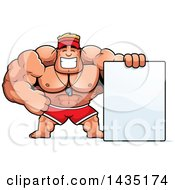 Clipart Of A Cartoon Buff Muscular Male Lifeguard With A Blank Sign Royalty Free Vector Illustration by Cory Thoman