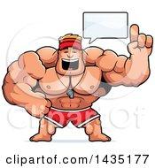 Clipart Of A Cartoon Buff Muscular Male Lifeguard Talking Royalty Free Vector Illustration