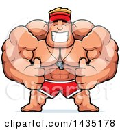 Clipart Of A Cartoon Buff Muscular Male Lifeguard Giving Two Thumbs Up Royalty Free Vector Illustration
