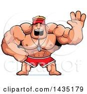 Clipart Of A Cartoon Buff Muscular Male Lifeguard Waving Royalty Free Vector Illustration
