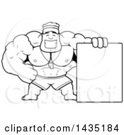 Cartoon Black And White Lineart Buff Muscular Male Lifeguard With A Blank Sign