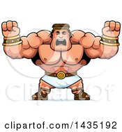 Clipart Of A Cartoon Buff Muscular Hercules Holding His Fists In Balls Of Rage Royalty Free Vector Illustration by Cory Thoman