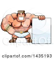 Clipart Of A Cartoon Buff Muscular Hercules With A Blank Sign Royalty Free Vector Illustration by Cory Thoman